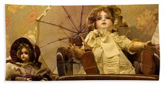 Antique Doll In Chair With Parasol Bath Towel