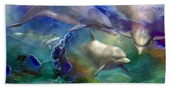 Dolphin Dream Hand Towel by Carol Cavalaris