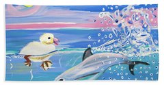 Dolphin Plays With Duckling Hand Towel by Phyllis Kaltenbach