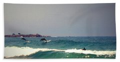 Dolphins Swimming With The Surfers At Asilomar State Beach  Bath Towel