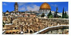Hand Towel featuring the photograph Dome Of The Rock by Doc Braham
