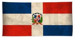 Dominican Republic Flag Vintage Distressed Finish Bath Towel