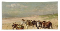 Donkeys On The Beach Hand Towel by Johannes Hubertus Leonardus de Haas