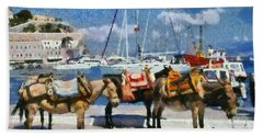 Donkeys Waiting For A Ride Hand Towel