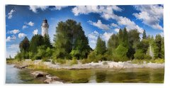 Door County Cana Island Lighthouse Panorama Bath Towel