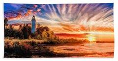 Door County Cana Island Lighthouse Sunrise Panorama Hand Towel