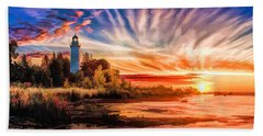 Door County Cana Island Lighthouse Sunrise Panorama Bath Towel