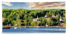 Door County Ephraim Harbor Sunset  Panorama Hand Towel
