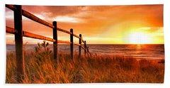 Door County Europe Bay Fence Sunrise Bath Towel