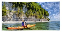 Bath Towel featuring the painting Door County Kayaking Around Rock Island State Park by Christopher Arndt
