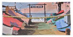Dory Fishing Fleet -newport Beach Bath Towel