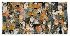 Double Cat Spread Hand Towel by Ditz