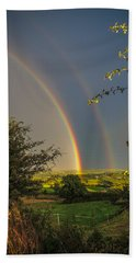 Double Rainbow Over County Clare Hand Towel