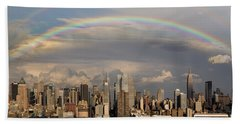 Double Rainbow Over Nyc Hand Towel by Susan Candelario