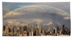 Double Rainbow Over Nyc Hand Towel