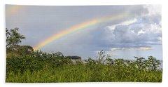 Bath Towel featuring the photograph Double Rainbow Sheffield Island by Marianne Campolongo