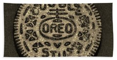 Double Stuff Oreo In Sepia Negitive Bath Towel
