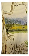 Hand Towel featuring the painting Down By The River Side by Leanne Seymour