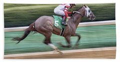 Down The Stretch - Horse Racing - Jockey Hand Towel by Jason Politte
