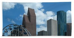 Downtown Houston With Ferris Wheel Bath Towel by Connie Fox