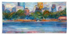 Downtown Minneapolis Skyline From Lake Calhoun II - Or Commission Your City Painting Hand Towel by Quin Sweetman