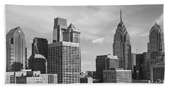 Downtown Philadelphia Hand Towel by Rona Black