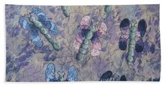 Hand Towel featuring the painting Dragon Fly Blues by Megan Walsh