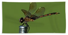 Hand Towel featuring the photograph Dragonfly by Meg Rousher