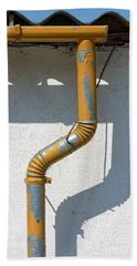 Drainpipe White Structured Wall  Bath Towel