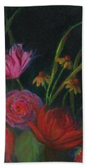 Dramatic Floral Still Life Painting Bath Towel