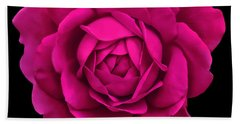 Dramatic Hot Pink Rose Portrait Hand Towel