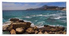 Dramatic Ocean Panorama On Milos Island Greece Hand Towel