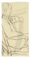Drawing Of Man Looking At His Watch Bath Towel