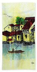 Dreadful Lemon Colored Sky Bath Towel by Roberto Prusso