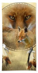 Dream Catcher- Spirit Of The Red Fox Bath Towel