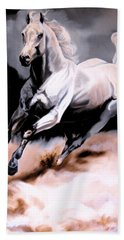 Dream Horse Series 20 - White Lighting Bath Towel by Cheryl Poland
