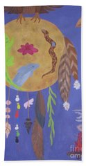 Hand Towel featuring the painting Dream Spirit Shield by Ellen Levinson
