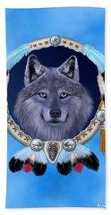 Dream Wolf Hand Towel by Glenn Holbrook
