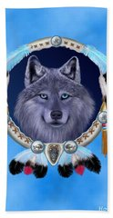 Dream Wolf Bath Towel by Glenn Holbrook