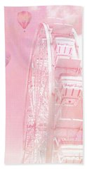 Dreamy Baby Pink Ferris Wheel Carnival Art With Hot Air Balloons Bath Towel