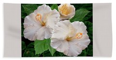 Dreamy Blooms - White Hibiscus Bath Towel
