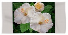 Dreamy Blooms - White Hibiscus Bath Towel by Ben and Raisa Gertsberg