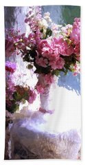 Dreamy Cottage Chic Impressionistic Flowers - Pink Roses Pink Vases Bath Towel
