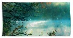 Dreamy Nature Aqua Teal Fog Pond Landscape - Aqua Turquoise Fall Autumn Nature Decor  Hand Towel