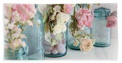 Shabby Chic Roses Blue Aqua Ball Mason Jars - Roses In Aqua Blue Mason Jars - Shabby Chic Decor Hand Towel by Kathy Fornal