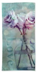 Roses Dreamy Shabby Chic Pink Roses Teal Aqua Impressionistic Cottage Pink Aqua Teal Love Roses Hand Towel
