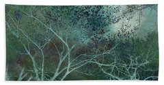 Dreamy Surreal Fantasy Teal Aqua Trees Nature  Hand Towel by Kathy Fornal