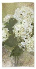 Hydrangea Floral Vintage Cottage Chic White Hydrangeas - Shabby Chic Dreamy White Floral Art  Bath Towel