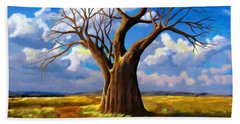 Dry Tree And Two Roads Hand Towel