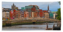 Dublin On The River Liffey Bath Towel by Mary Carol Story